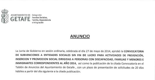 solicitud de subvenciones en Getafe