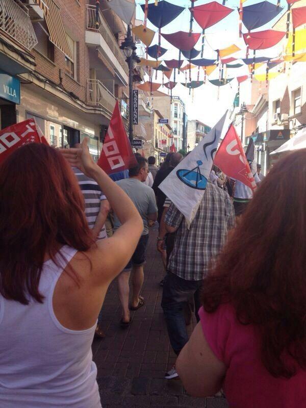 Protestas de trabajadores por el ERE de ATENTO en la calle Madrid