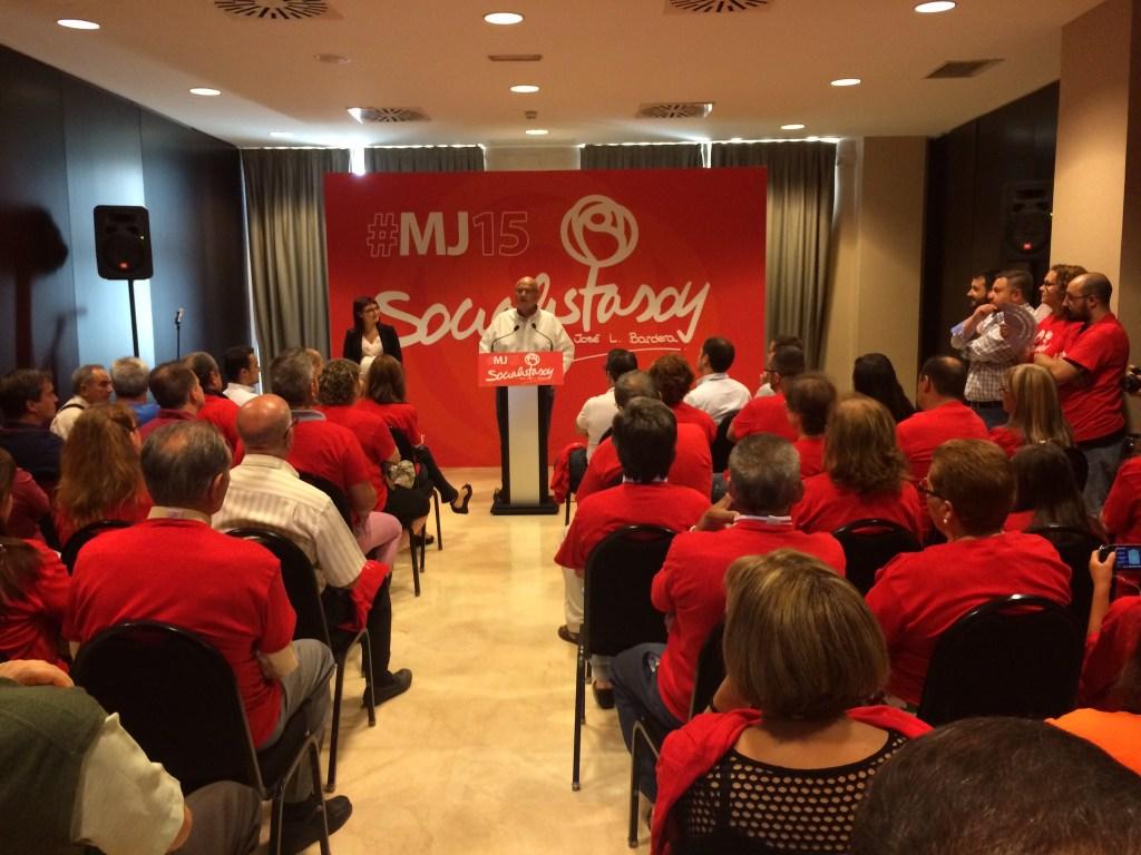 Comienzo del acto con los militantes para presentar su intención de liderar el proyecto Socialista en Parla