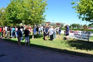 Protestas de trabajadores en la puerta de Atento Getafe