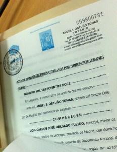 Acta notarial firmada por ULEG