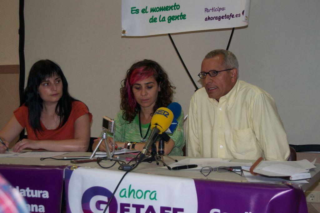Rueda de prensa de Ahora Getafe, en el centro su candidata, Vanessa Lillo