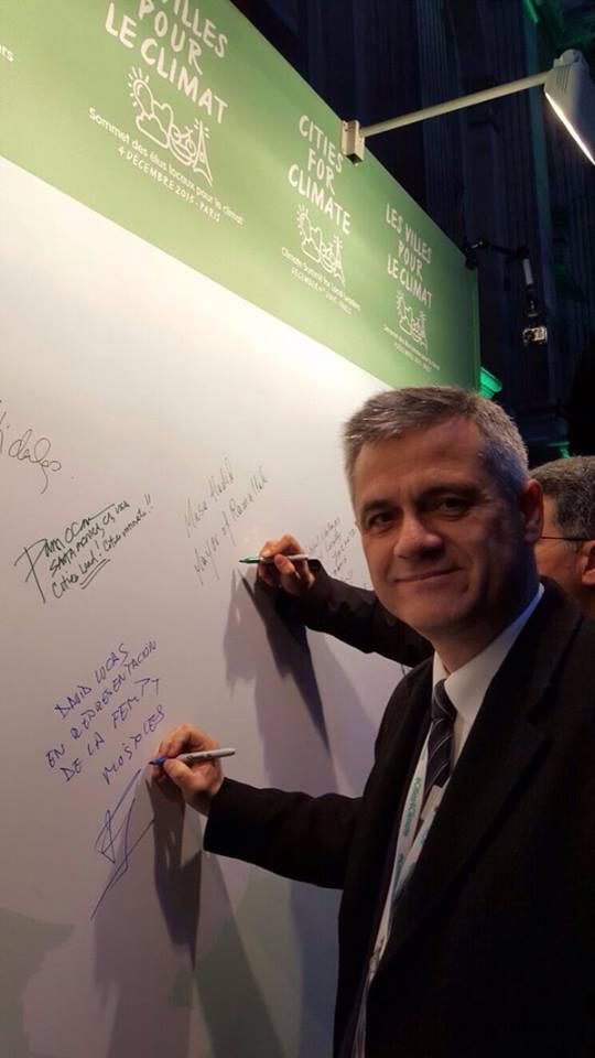 David Lucas en la Cumbre del Clima en París.