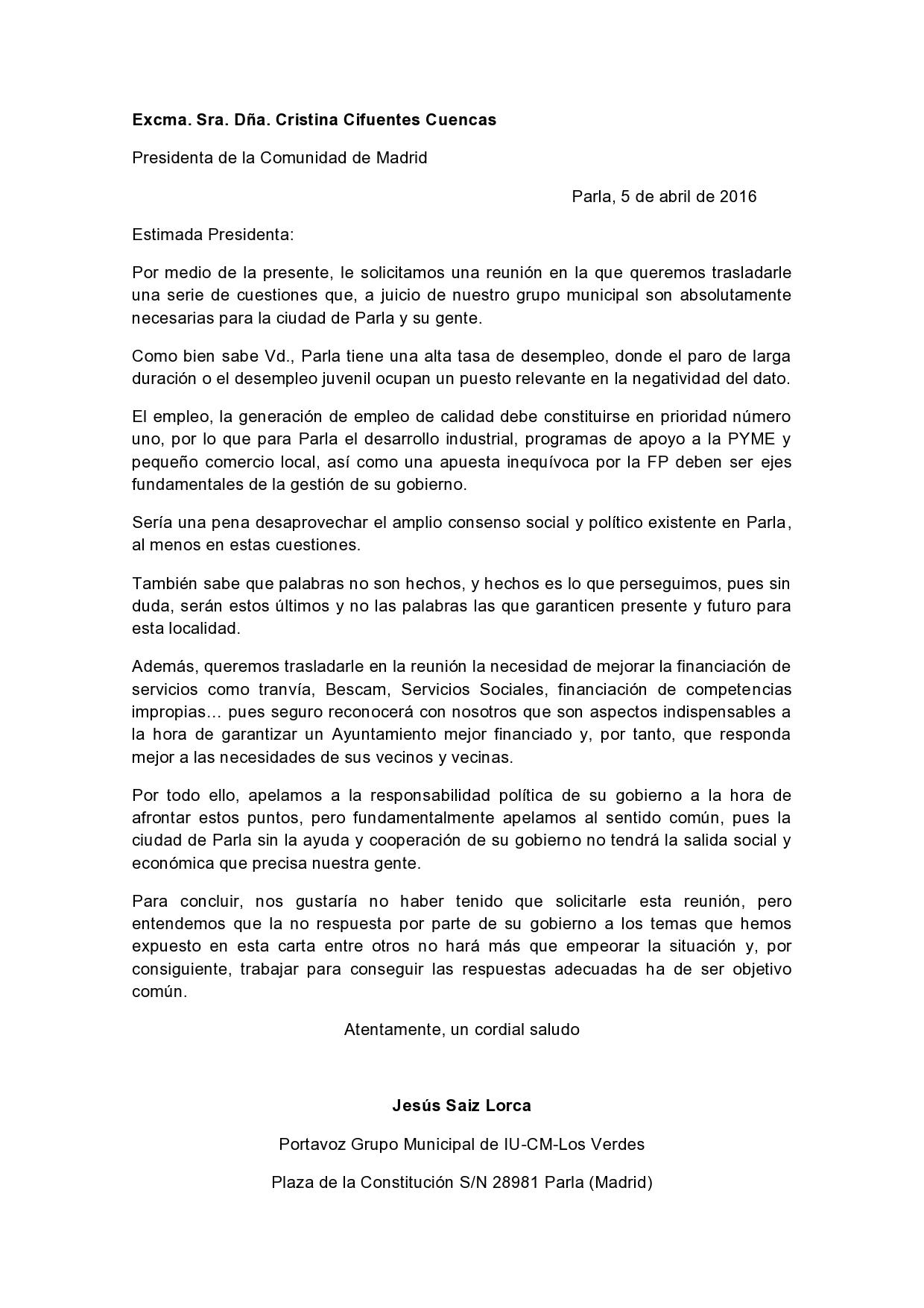Carta de IU