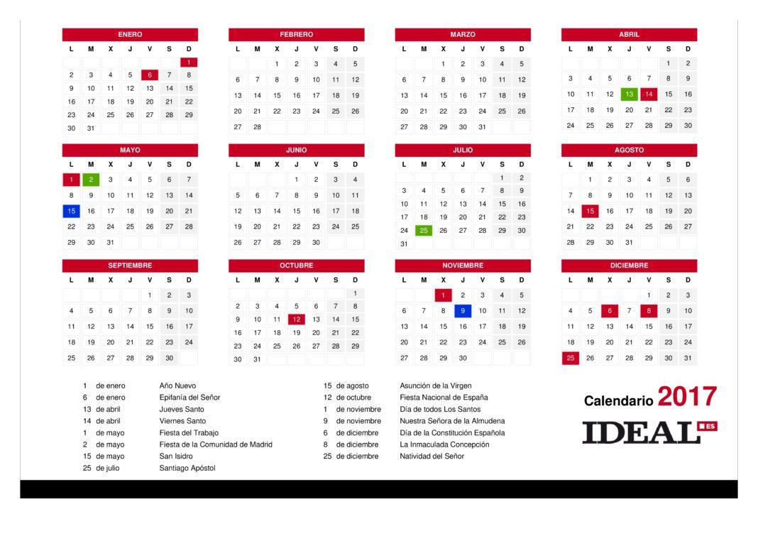 Regional aprobado el calendario laboral de 2017 con 12 for Calendario eventos madrid
